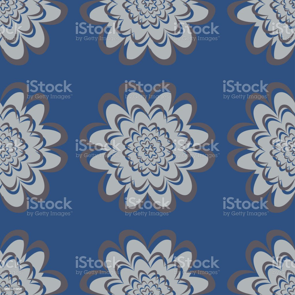 Seamless floral pattern. Dark blue background with flower designs - Royalty-free Abstract stock vector