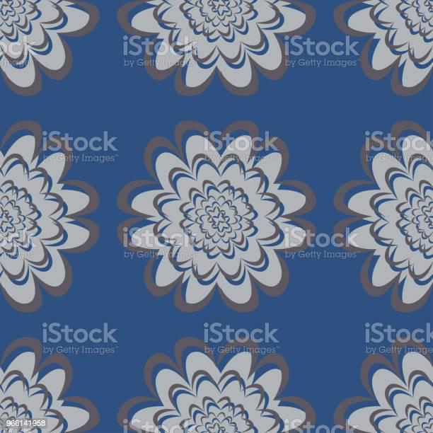 Nahtlose Blumenmuster Dunkelblauen Hintergrund Mit Blumendesigns Stock Vektor Art und mehr Bilder von Abstrakt