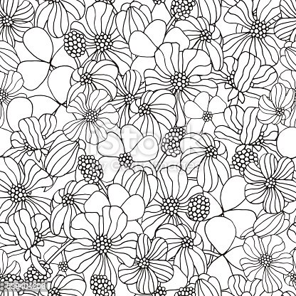 Seamless Floral Pattern For Coloring Book With Spring Flowers Stock Vector Art More Images Of Abstract 529404206