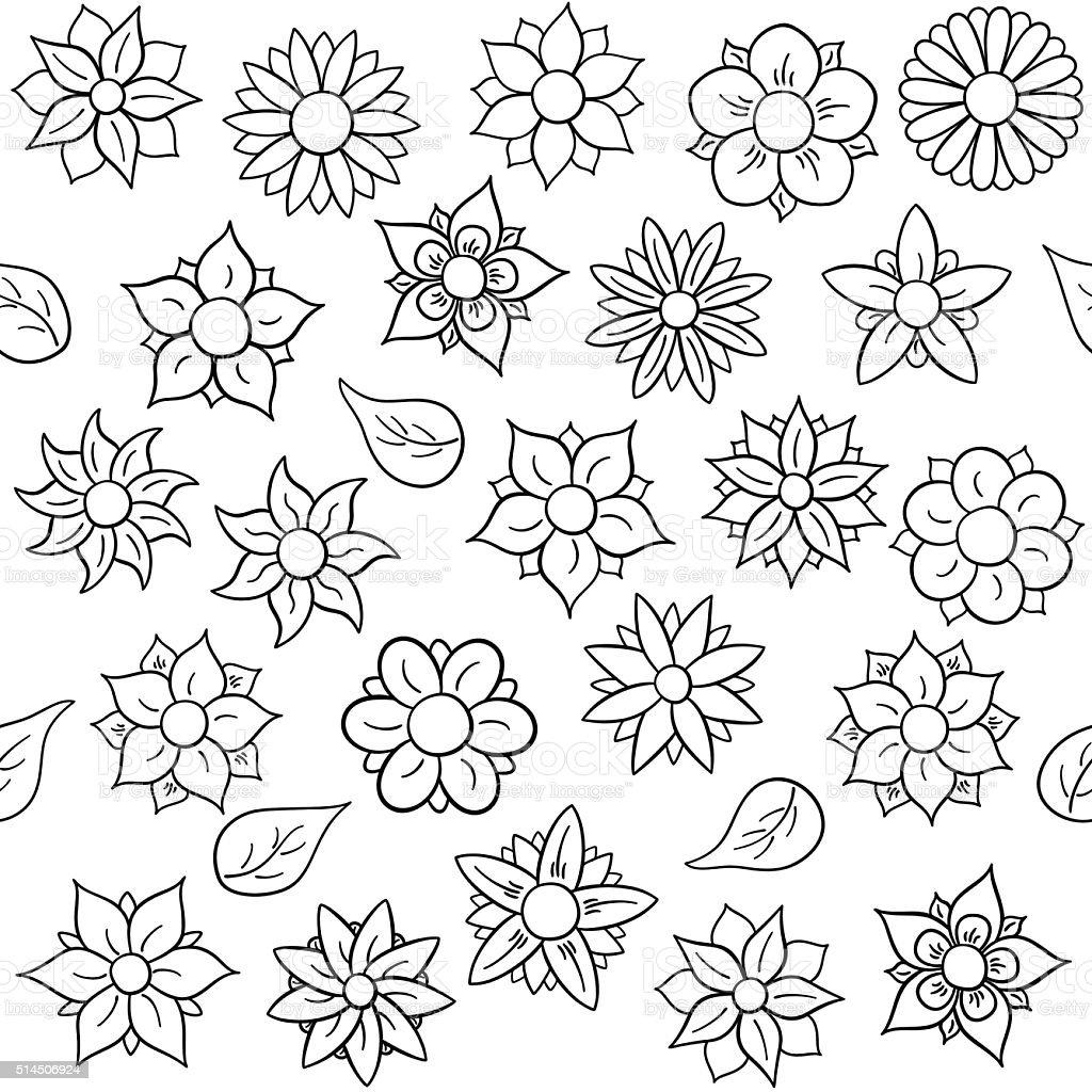Ilustración De Patrón Sin Costuras Flores Para Colorear Y