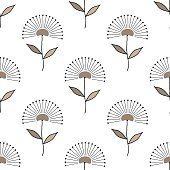 Seamless floral pattern geometrical hand drawn abstract flowers, allover print, beige light brown tones, graphic, textile, gift wrap