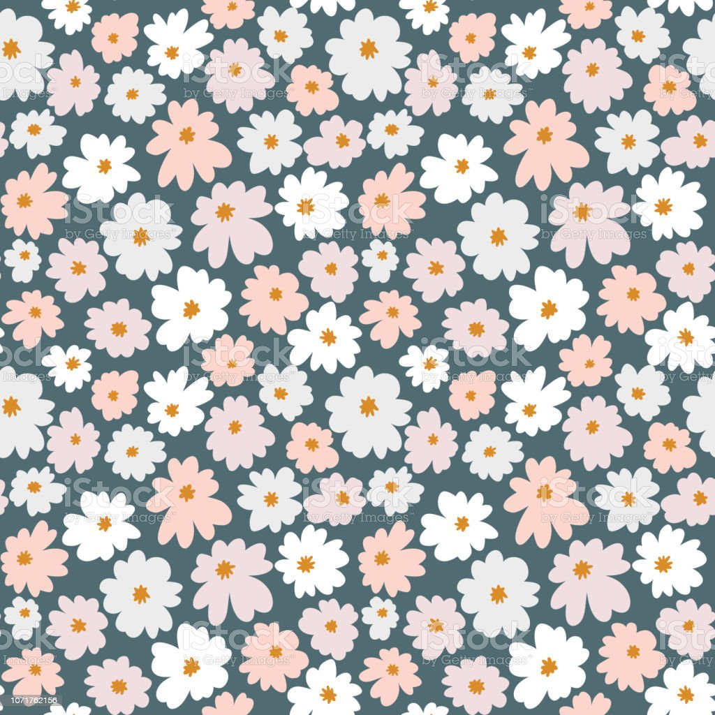 foto de Seamless Floral Pattern In Doodle Style With Flowers Hand Drawn ...
