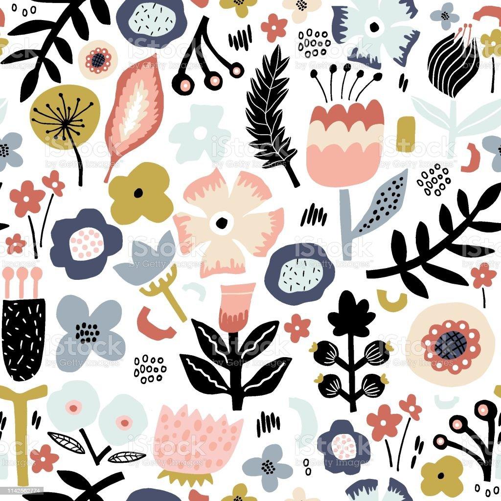 Seamless Floral Pattern In Trendy Scandinavian Style Modern Flower