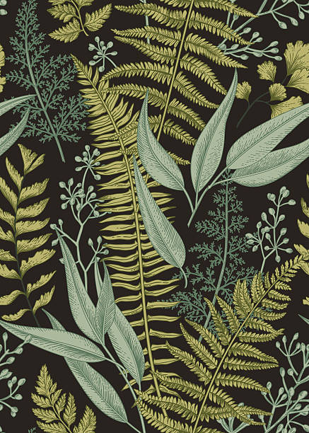 seamless floral pattern in vintage style. - vintage nature stock illustrations, clip art, cartoons, & icons