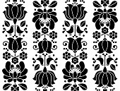 Seamless floral pattern - Kalocsai embroidery - Hungarian folk
