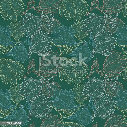 istock Seamless Floral Pattern. Magnolia Flowers and Leaves Exotic. Vector Design. Texture. Summer and Spring. suitable background, textur, fabric, textile, wallpaper, tile, print, backdrop, vintage, 1279413331