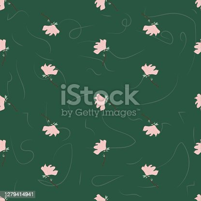 istock Seamless Floral Pattern. Magnolia Flowers and Leaves Exotic. Vector Design. Texture. Summer and Spring. suitable background, textur, fabric, textile, wallpaper, tile, print, backdrop, vintage, 1279414941
