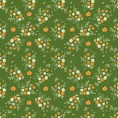 Seamless floral pattern millefleurs orange white flower bouquet leaves sprigs arranged in diamond shape ornament on green background. Calico. Fabric quilting
