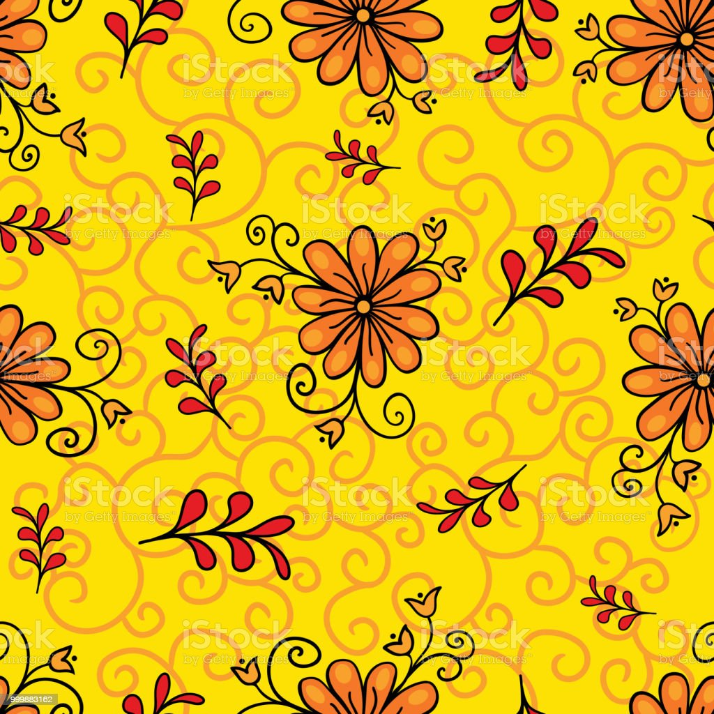 Seamless Floral Pattern Modern Abstract Bright Colorful Style Hand