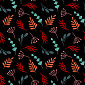 Seamless floral pattern on black background. Contemporary flowers with vivid colours perfect for packaging wallpaper textile and other design
