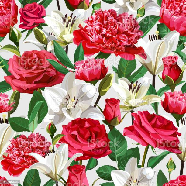 Seamless floral pattern on light background roses peonies and lilium vector id924680350?b=1&k=6&m=924680350&s=612x612&h=r82jevbqsqvn9j9musimzmtwub7hvci9qxommbqcoeg=