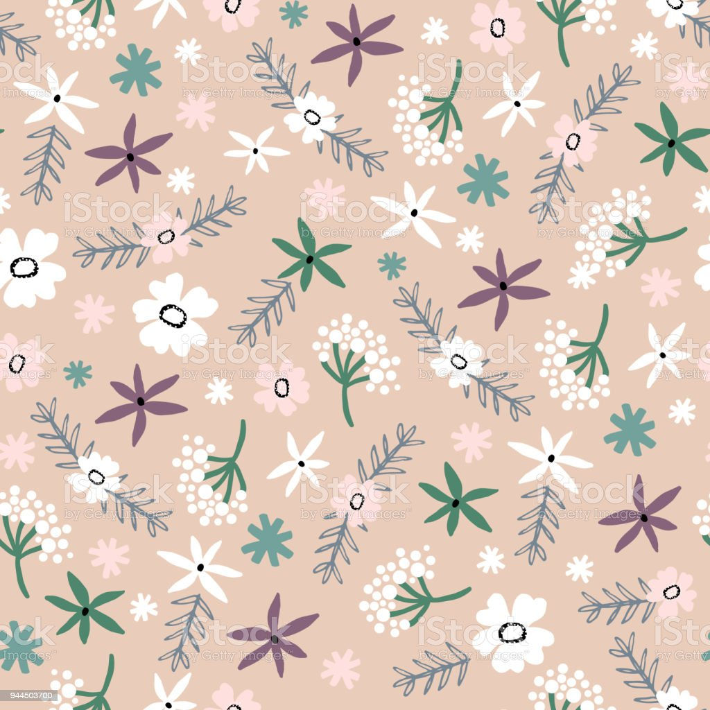 Seamless Floral Pattern Pastel Texture With Flowers For Fabric