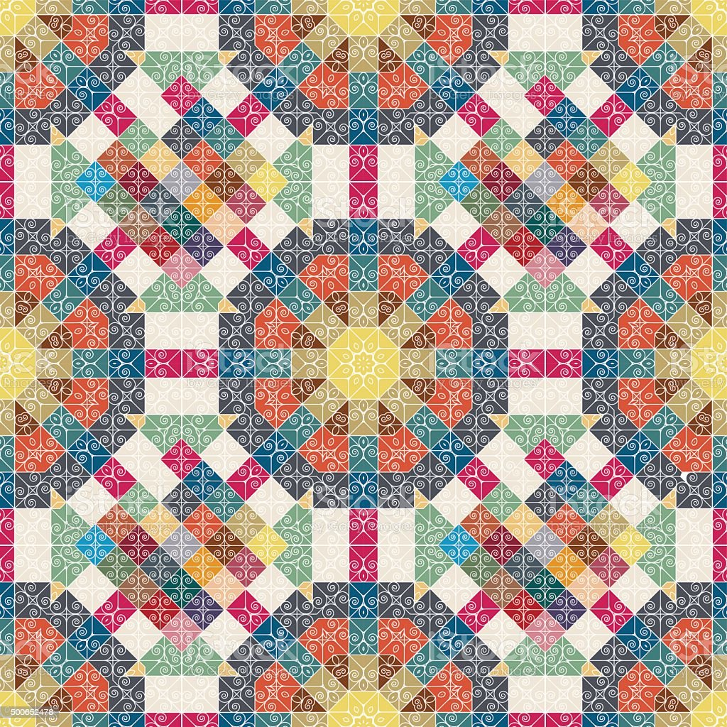 Seamless floral pattern. Patchwork texture. Mosaic. vector art illustration