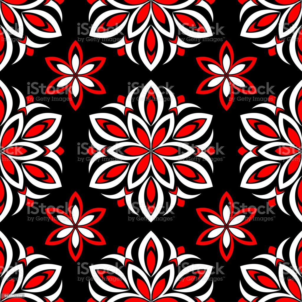 Seamless Floral Pattern Red And White Elements On Black Background Royalty Free