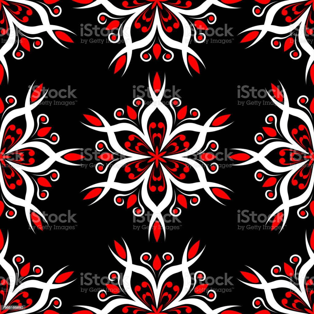 Seamless floral pattern. Red and white elements on black background - Royalty-free Abstract stock vector