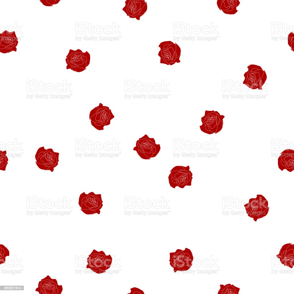 Seamless Floral Pattern Red Burgundy Color Roses Flowers On White Background Vector Eps 10