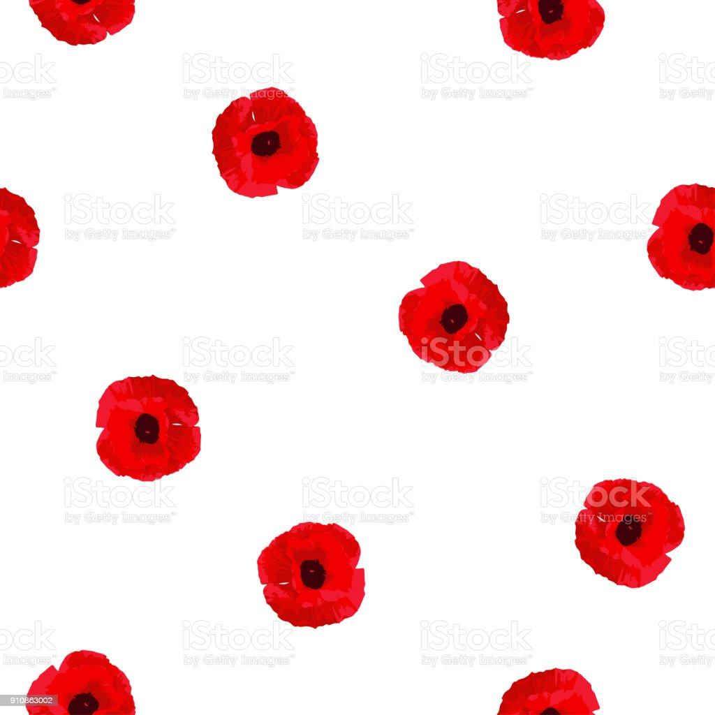 Flores de amapolas de patrón floral transparente rojo sobre blanco, traza, vector, eps 10 - ilustración de arte vectorial