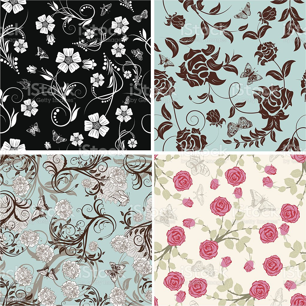 seamless floral pattern set royalty-free seamless floral pattern set stock vector art & more images of abstract