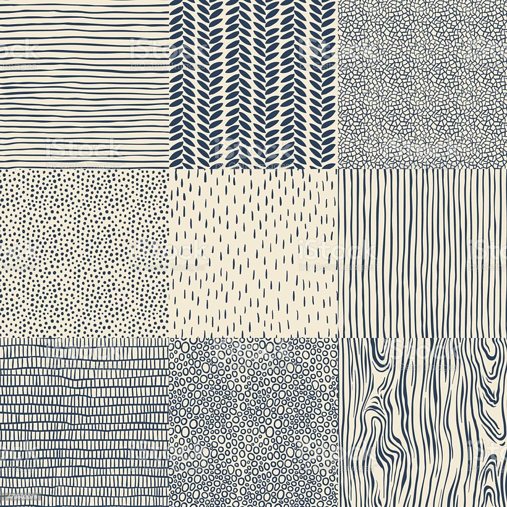 Seamless floral pattern set vector art illustration