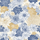 Modern retro floral pattern in repeat. Seamless pattern.