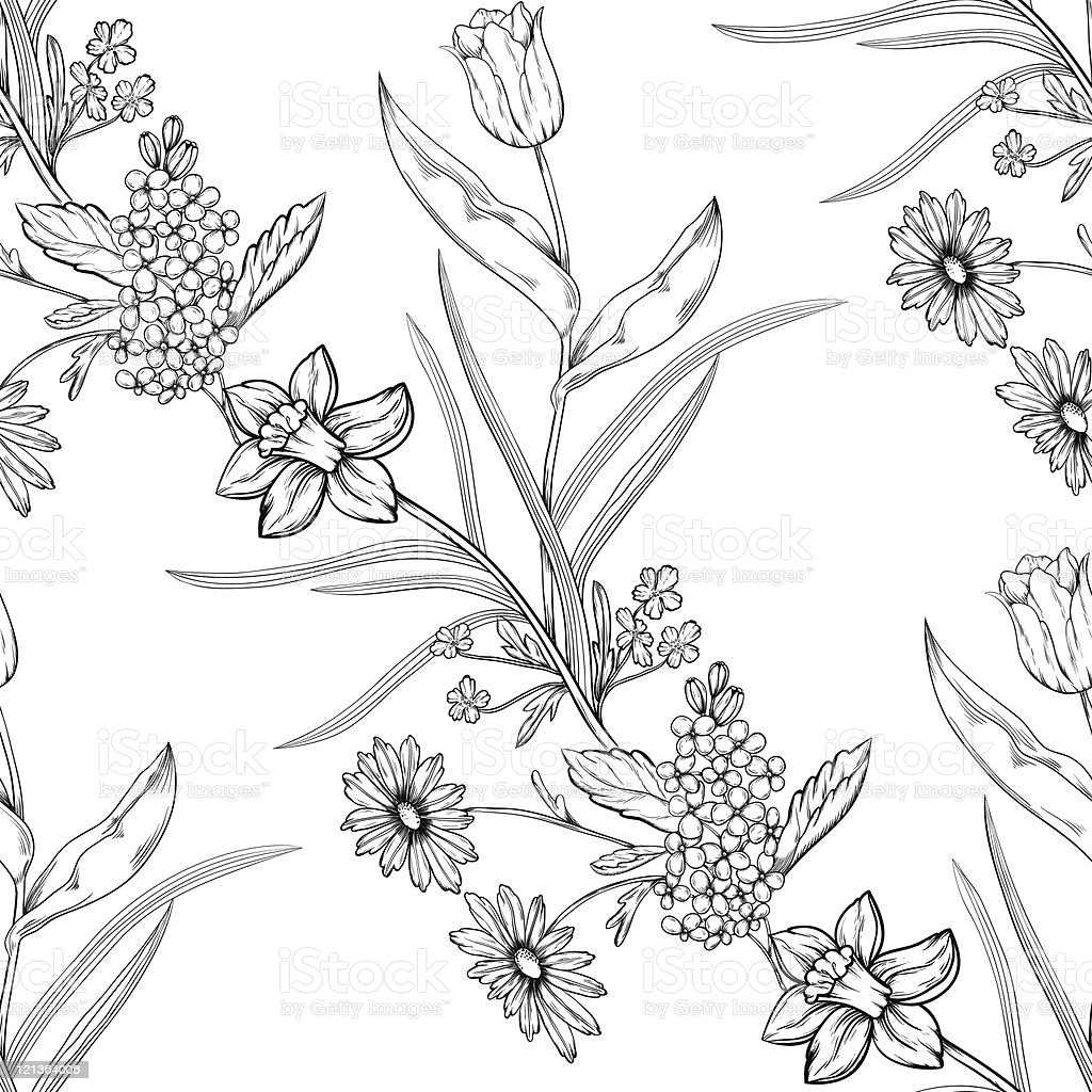 Seamless floral pattern royalty-free seamless floral pattern stock vector art & more images of abstract