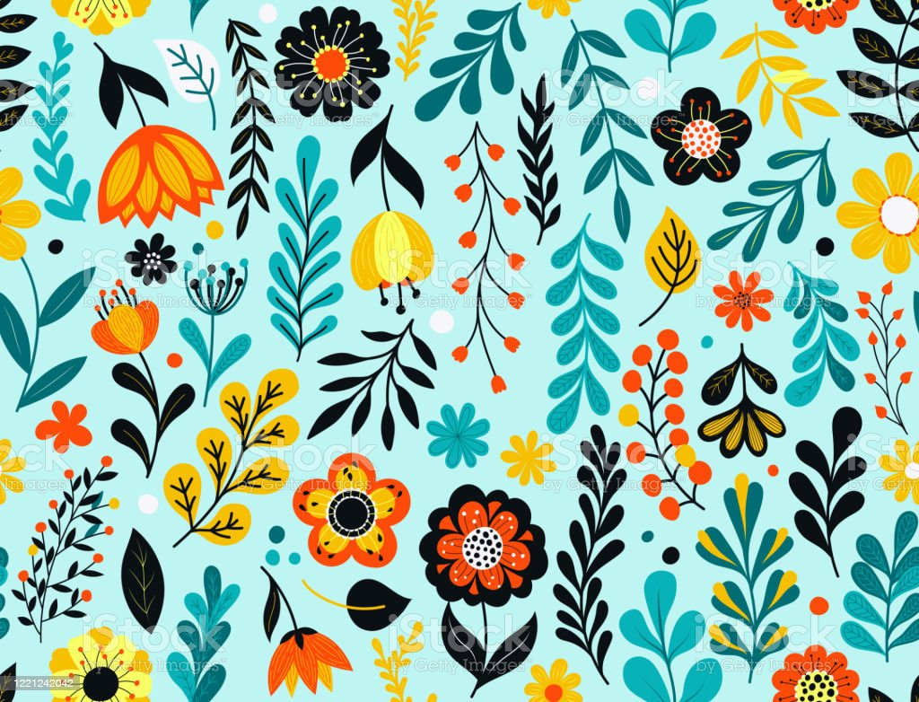 Seamless floral pattern Colorful flowers seamless pattern. Hand drawn florals, leaves and berries. EPS10 vector illustration, global colors, easy to modify. Backgrounds stock vector