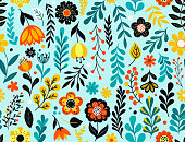 Colorful flowers seamless pattern. Hand drawn florals, leaves and berries. EPS10 vector illustration, global colors, easy to modify.