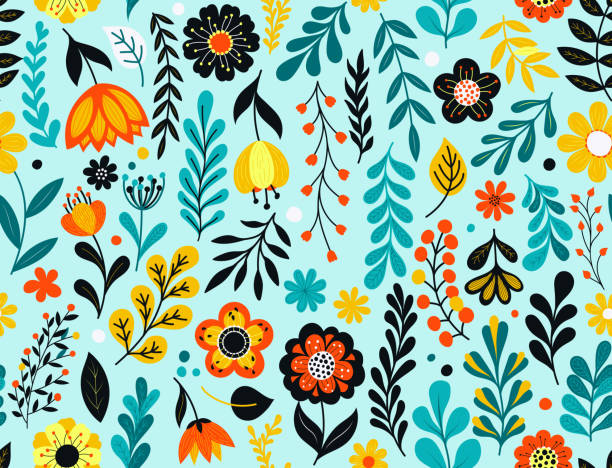 Seamless floral pattern Colorful flowers seamless pattern. Hand drawn florals, leaves and berries. EPS10 vector illustration, global colors, easy to modify. garden stock illustrations