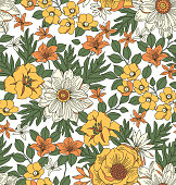 Trendy seamless floral pattern with exotic flowers. Yellow flowers on a white background. A bouquet of spring flowers for fashion prints.