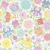 Seamless pattern of stylized colorful flowers.