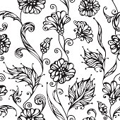 Ornate duotone background with flowers and leaves for your design. Black pattern and white background are on separate layers. EPS 8.