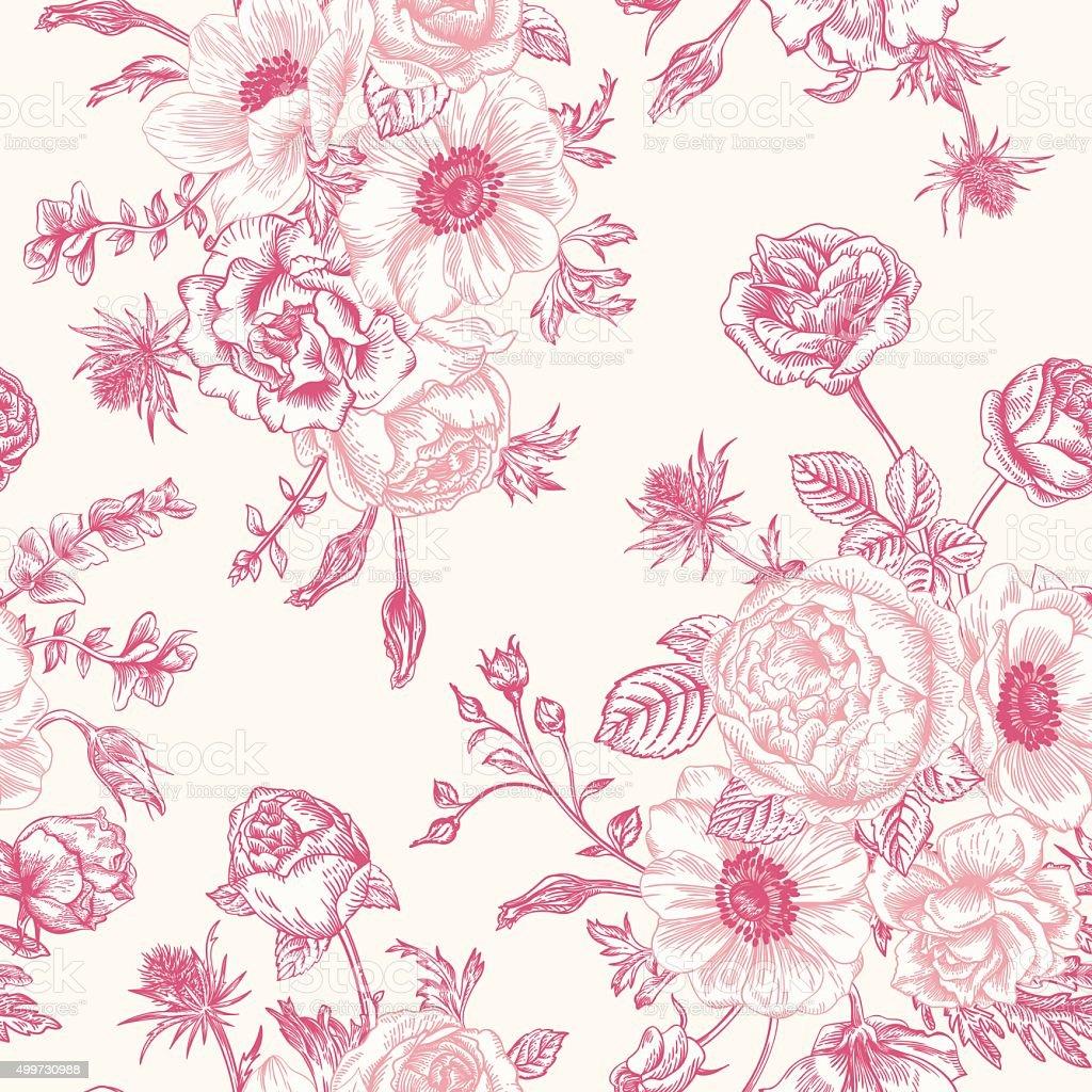 Seamless floral pattern. vector art illustration