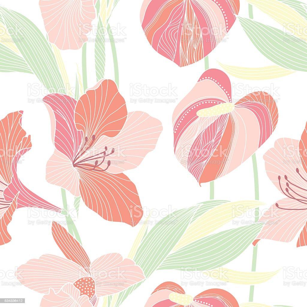 Motif floral sans - Illustration vectorielle