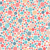 seamless floral pattern, small flowers on a white background, simple print for textiles, vector illustration