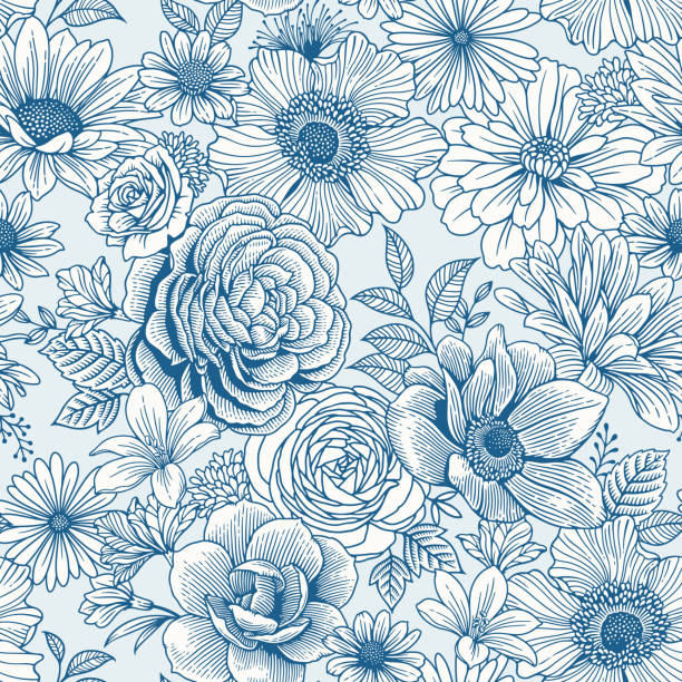 seamless floral pattern - floral pattern stock illustrations, clip art, cartoons, & icons