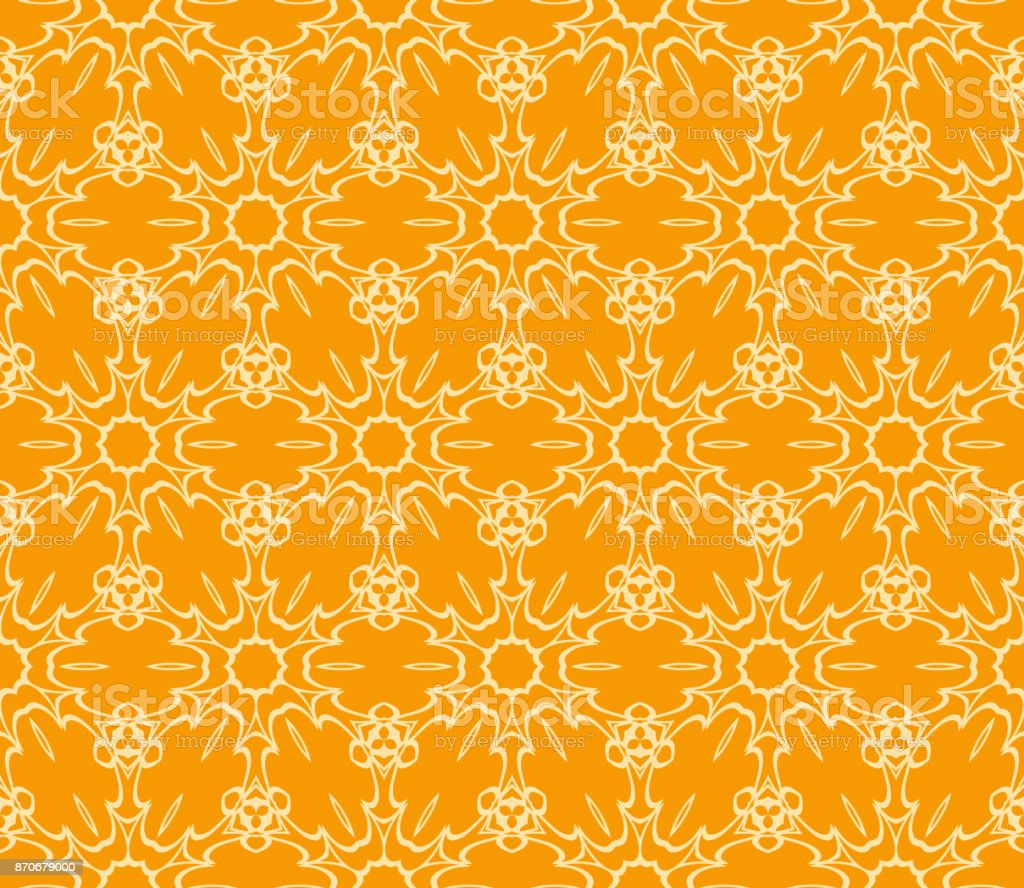 Seamless Floral Pattern Vector Illustration Orange Color For