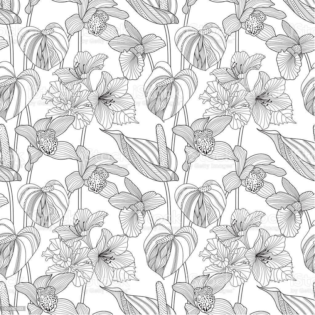 Seamless motif fleuri.  illustration vectorielle de fleurs exotiques - Illustration vectorielle