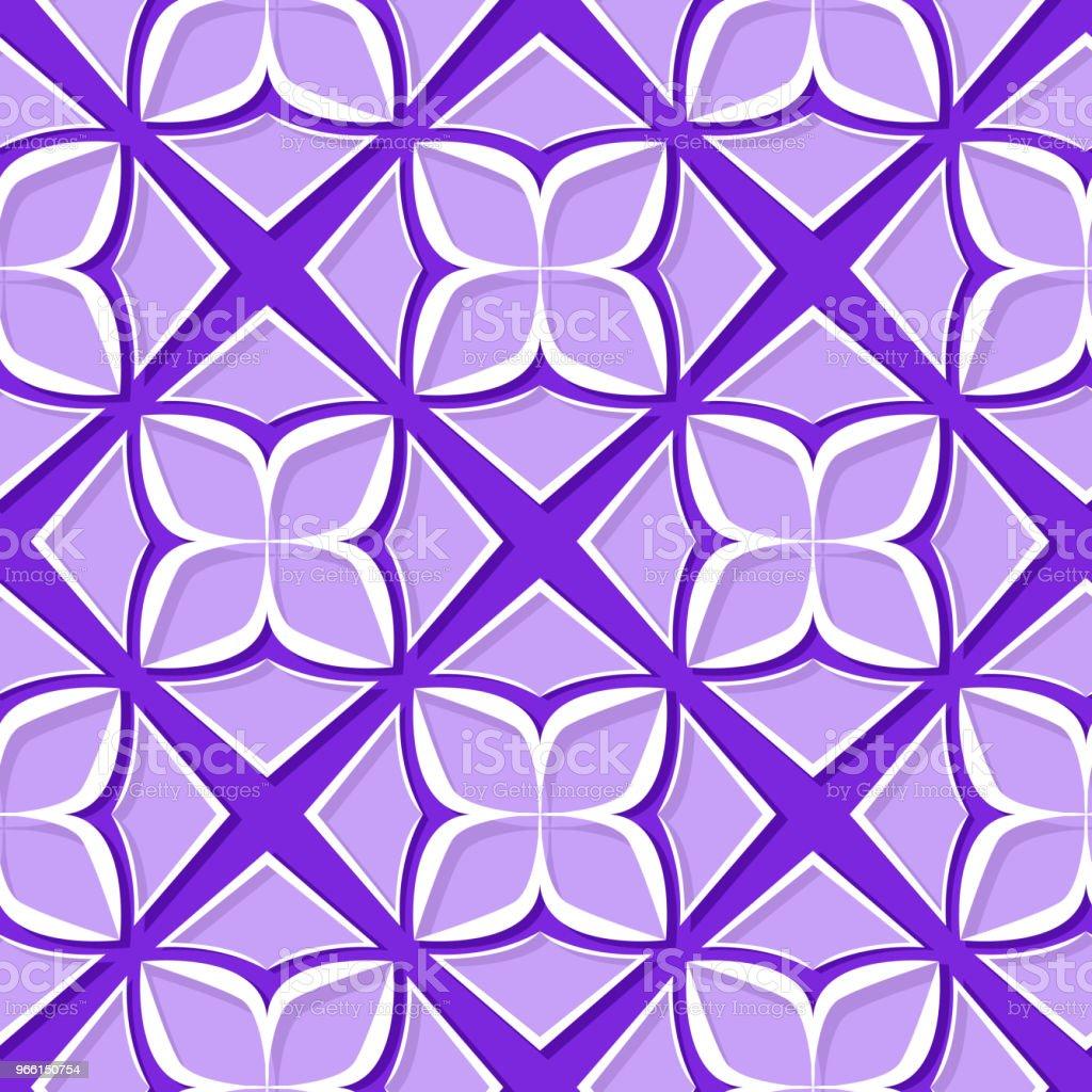 Patrón floral transparente. Diseños 3d violetas y lilas - arte vectorial de Abstracto libre de derechos