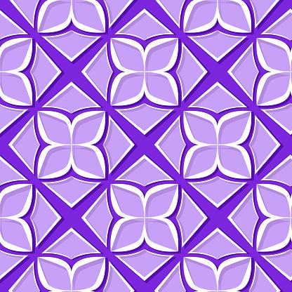 Sömlös Blommönster Violett Och Lila 3dkonstruktioner-vektorgrafik och fler bilder på Abstrakt