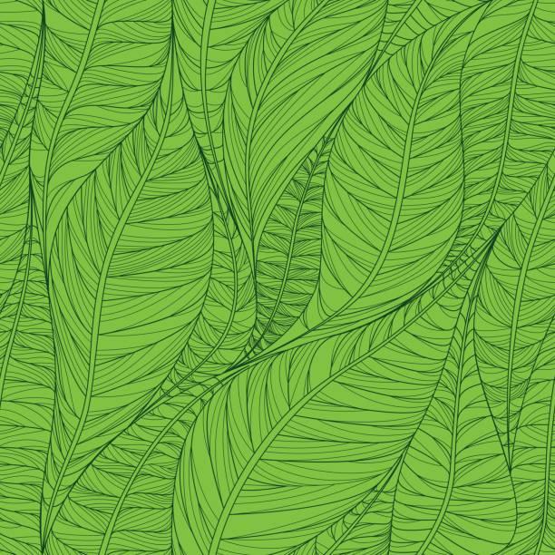 無縫的花卉圖案與抽象的葉子。五顏六色的向量背景在綠色。 - 葉狀花紋 幅插畫檔、美工圖案、卡通及圖標