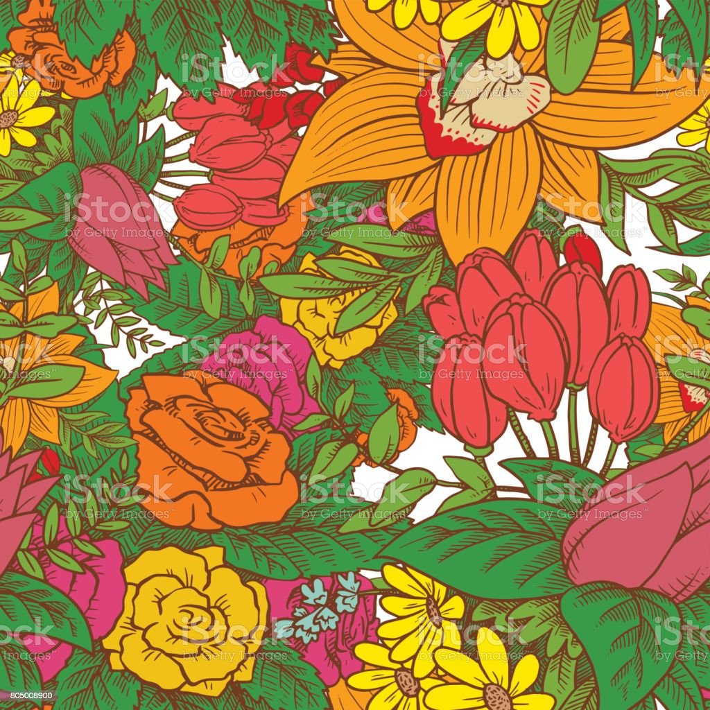 Seamless Floral Pattern With Beautiful Bright Flowers On White