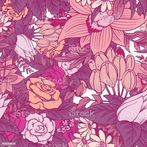 Seamless floral pattern with beautiful flowers in pink tones vector id805009640?b=1&k=6&m=805009640&s=612x612&h=mrdzlvzbloktcuu0xr7mvyjosa0m5tqjqbb4rat e0q=