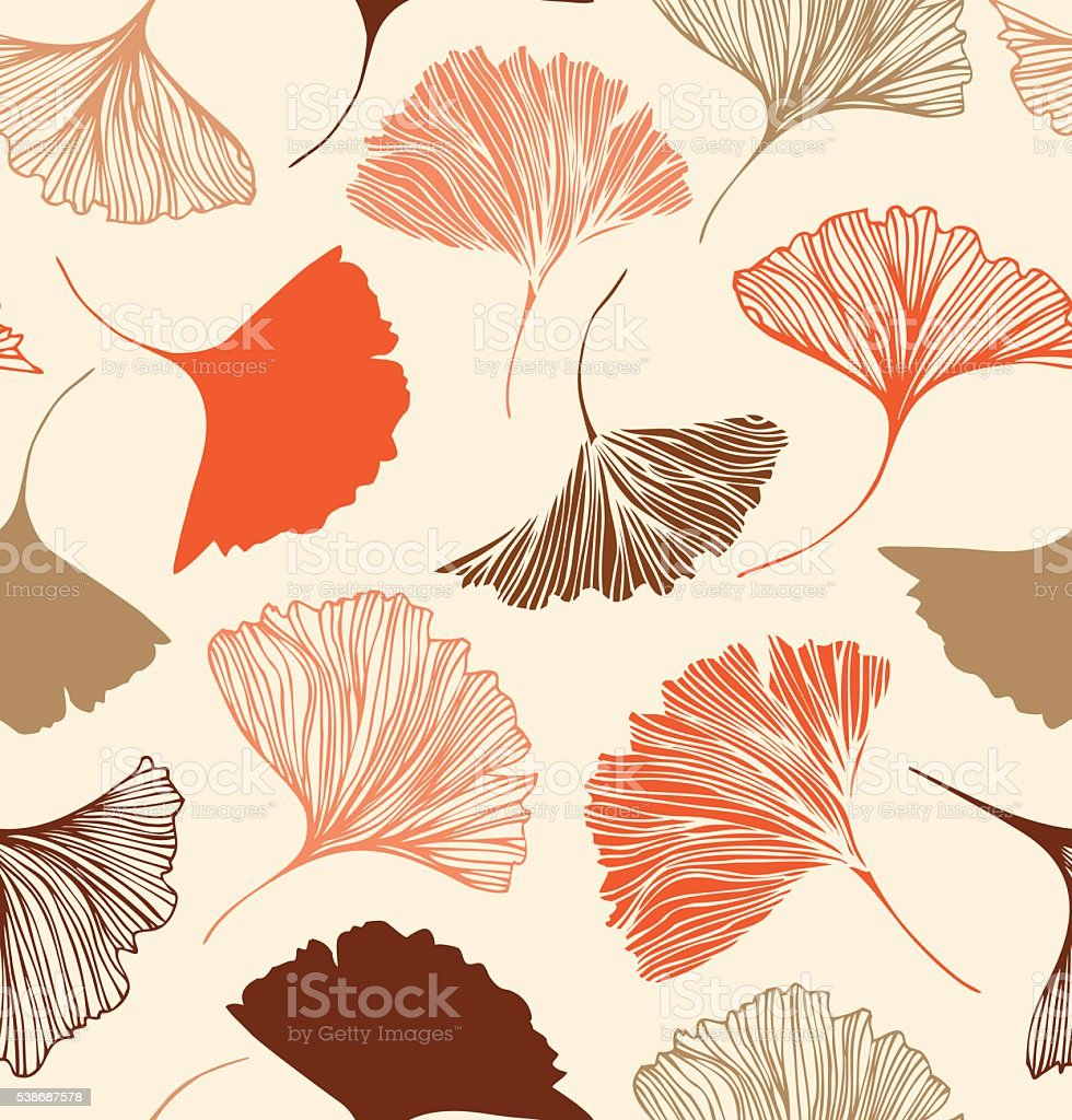 Seamless floral pattern with beauty ginkgo leaves. vector art illustration