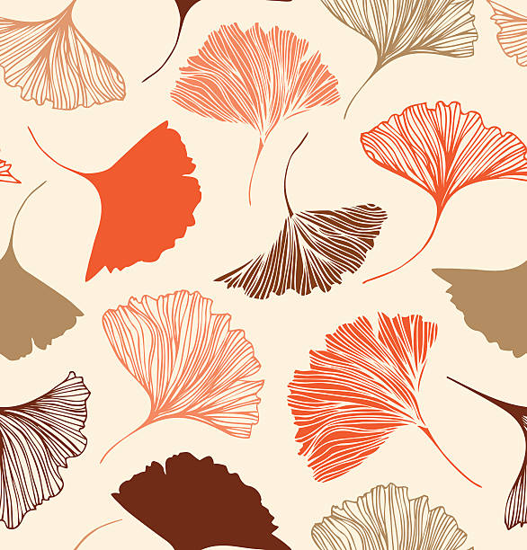 Seamless floral pattern with beauty ginkgo leaves. Seamless floral pattern with beauty ginkgo leaves. ginkgo stock illustrations