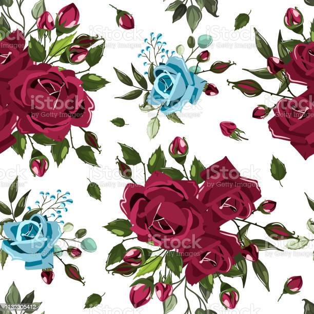 Seamless floral pattern with bordo burgundy navy blue rose flowers vector id1132305412?b=1&k=6&m=1132305412&s=612x612&h=zs91uontd39xce5cscfyjx9pfz9rb wjoiawhs9lhm8=