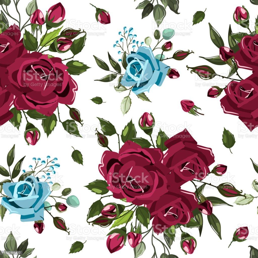 Seamless floral pattern with bordo burgundy navy blue rose flowers bouquets векторная иллюстрация