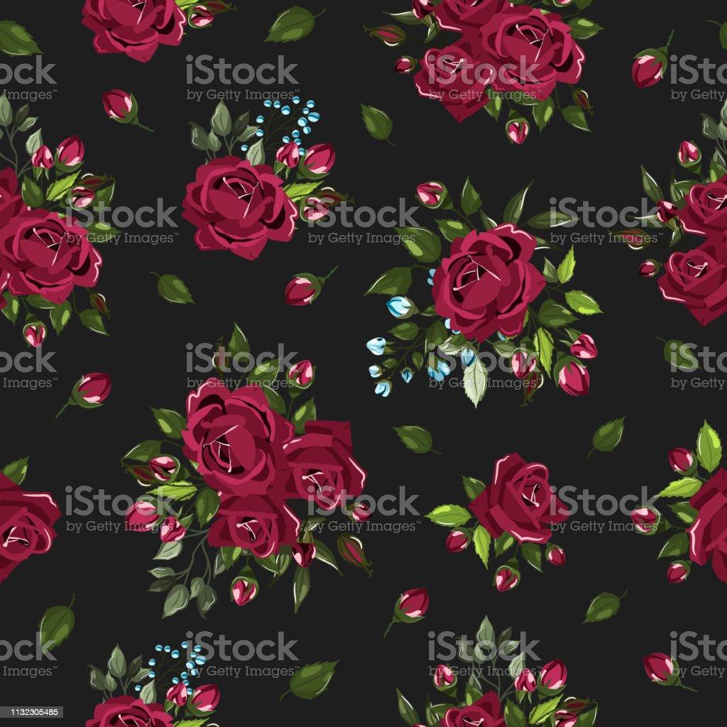 Seamless floral pattern with bordo burgundy rose flowers bouquets векторная иллюстрация