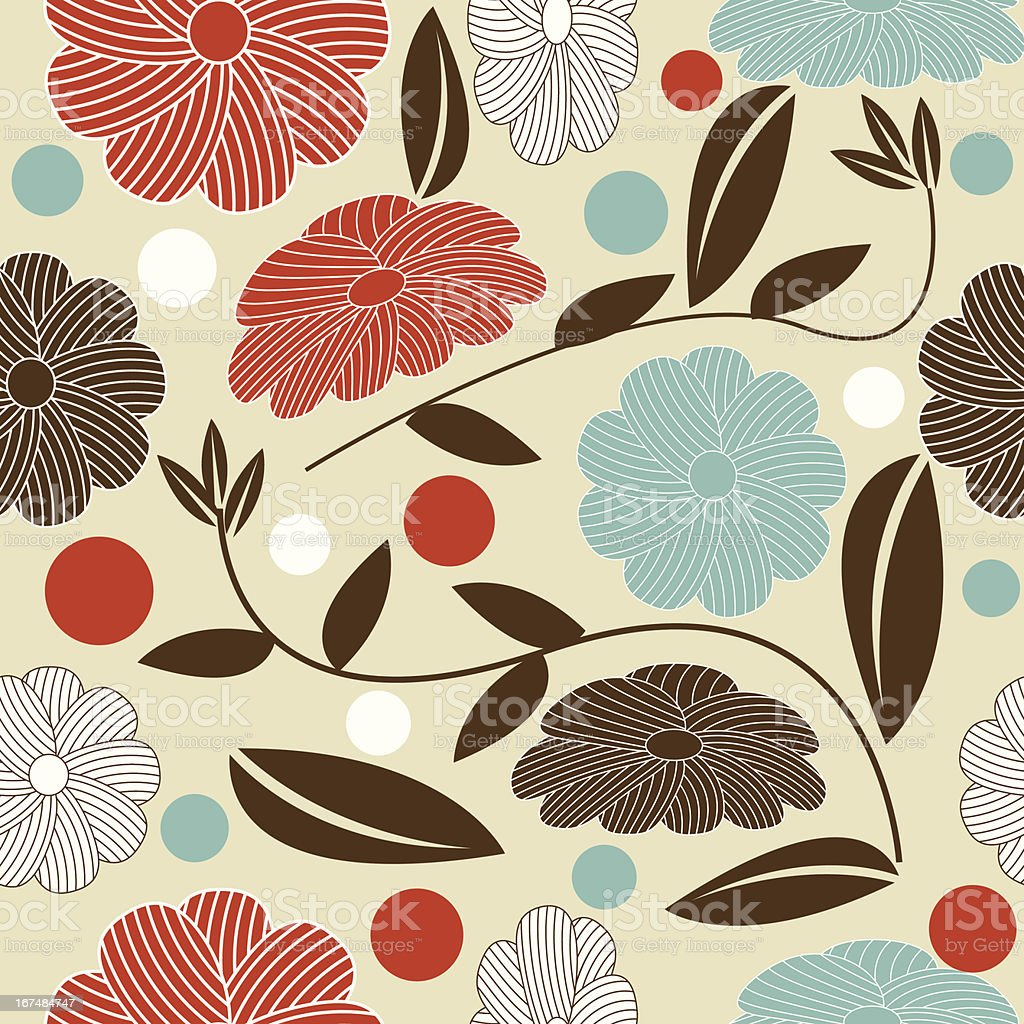 Seamless floral pattern with cream  blue orange brown royalty-free stock vector art
