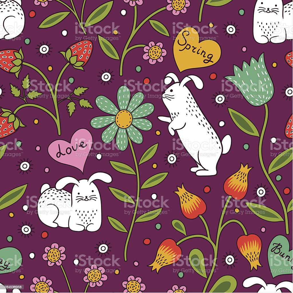 Seamless floral pattern with cute bunnies royalty-free stock vector art