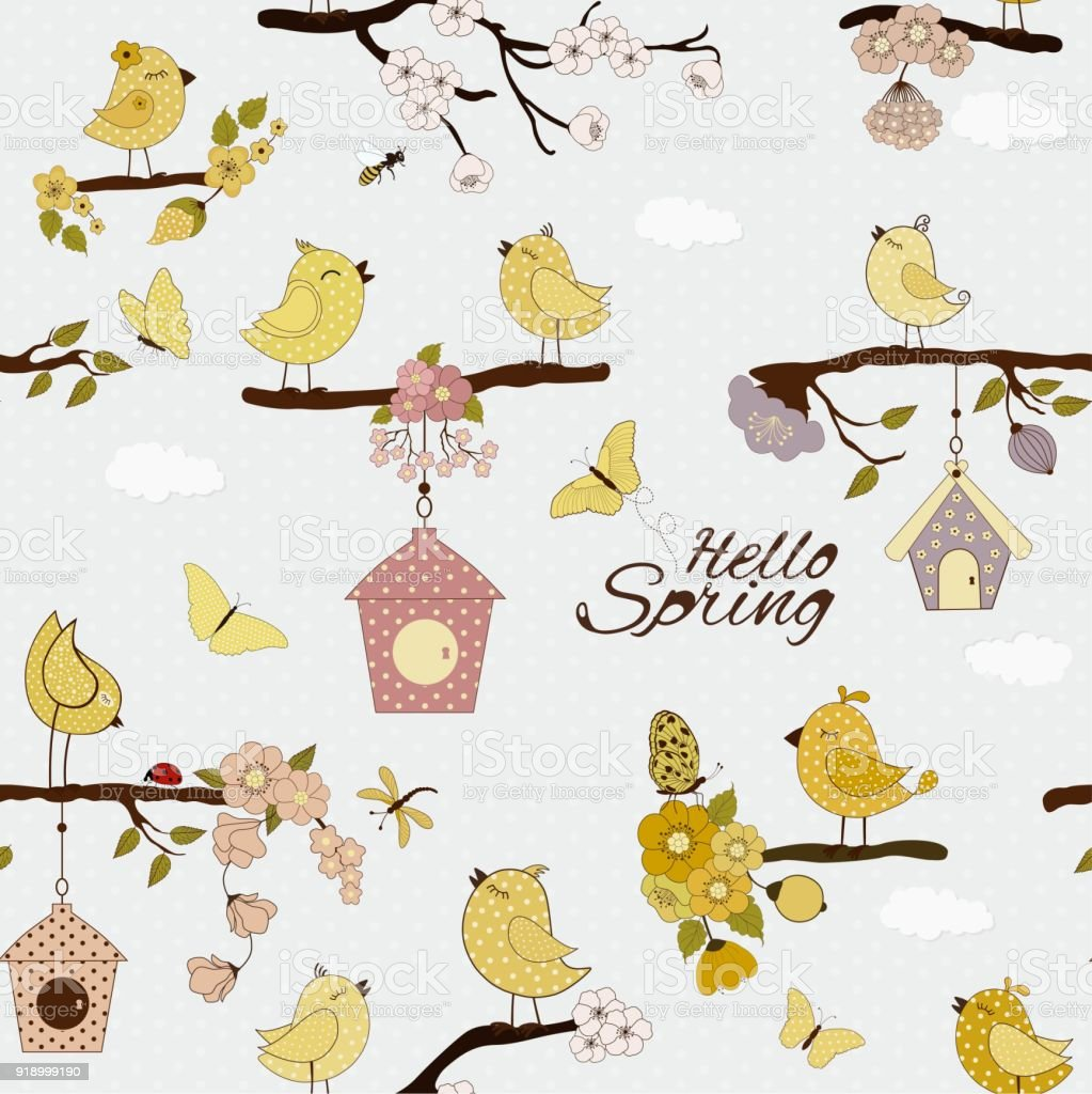 Seamless floral pattern with cute cartoon birds on the branches vector art illustration